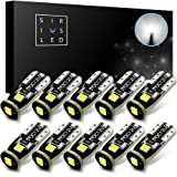 SiriusLED Extremely Bright 3030 Chipset LED Bulbs for Car Interior Dome Map Door Courtesy License Plate Lights Compact Wedge T10 168 194 2825 Xenon White Pack of 10