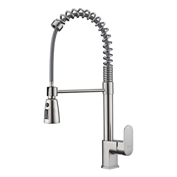 Amazon Com High Arc Swivel Spring Kitchen Faucet Brushed Nickel
