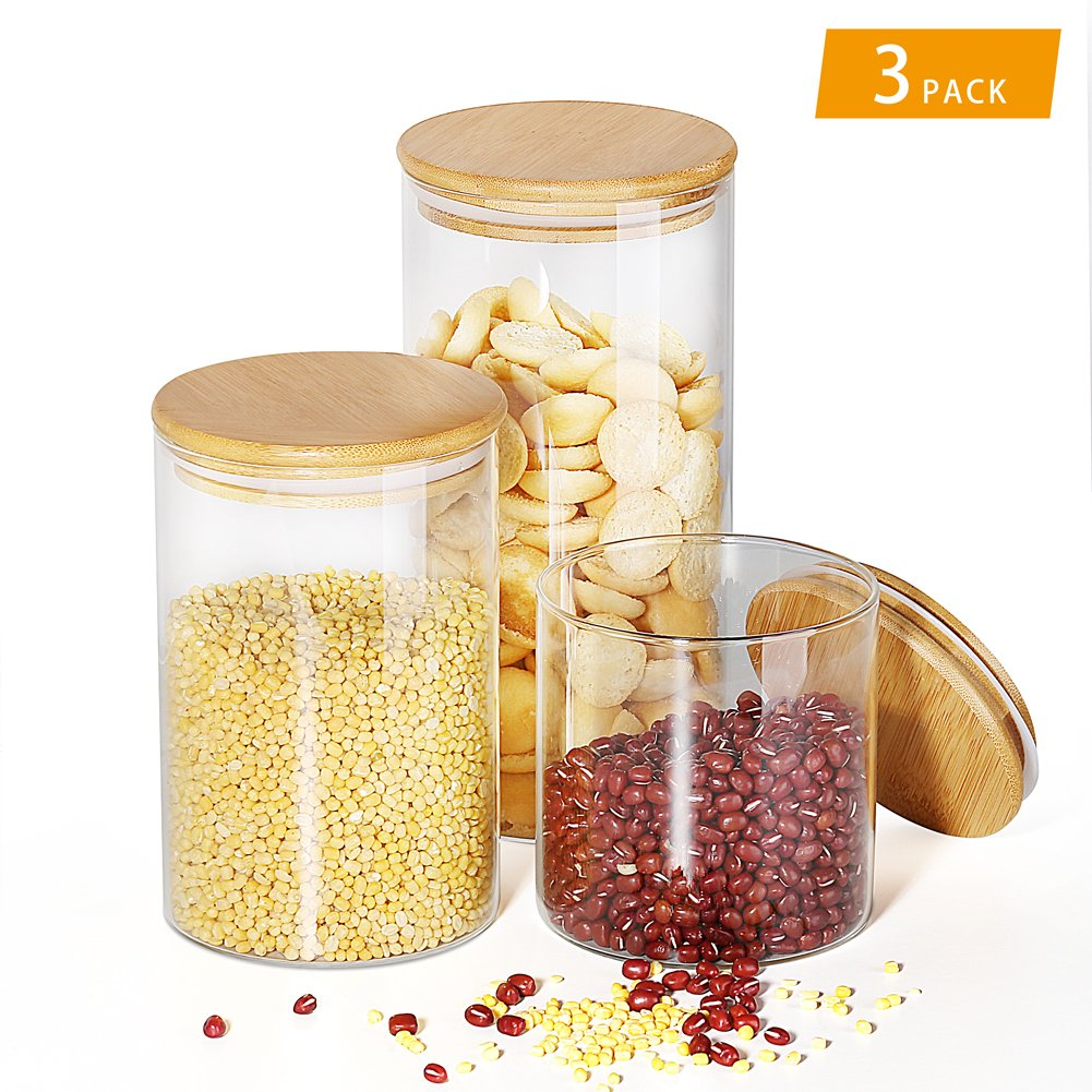 [3Pack] DRMHT Airtight Wide-mouth Glass Jar, with Leak Proof Rubber Gasket Storage Container, Ideal for Food Storage- Ideal Kitchen Accessories (28.96 Oz 42.37 Oz 55.7 Oz)