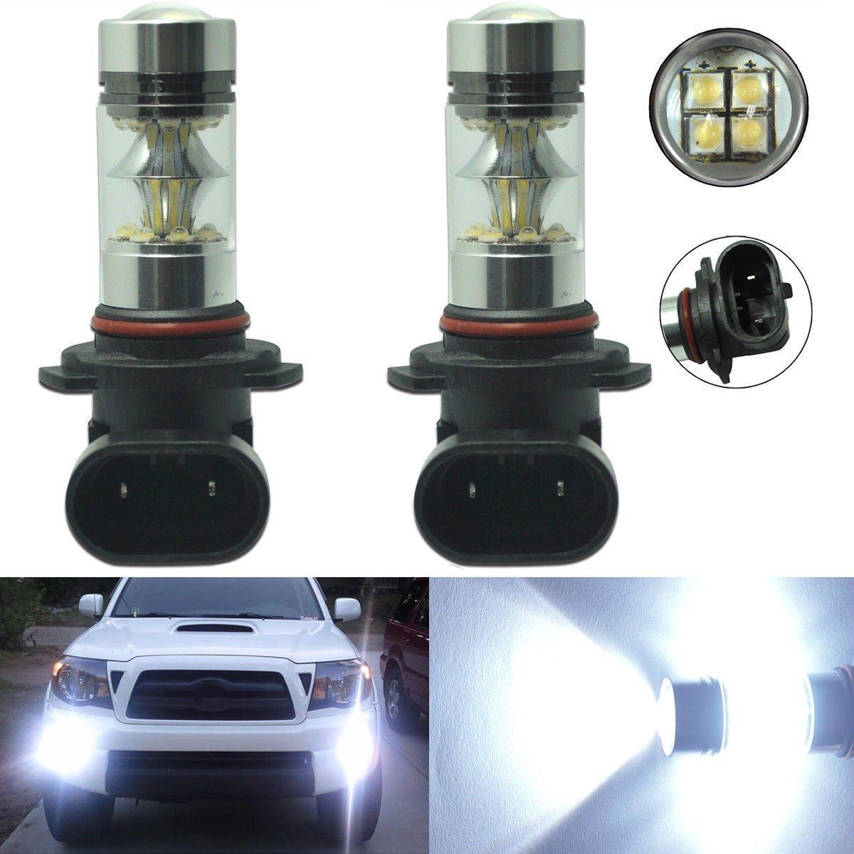 2 x 100W H10 9145 High Power CREE LED 6000K Super White Fog Light Lamp Bulbs Carb Omar