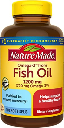 Nature Made Fish Oil 1200mg One Per Day, 100 Softgels, Fish Oil Omega 3 Supplement For Heart Health
