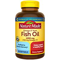 Nature Made Omega-3†† from Fish Oil 1200 mg Softgels, 100 Count for Heart Health† (Packaging May Vary)