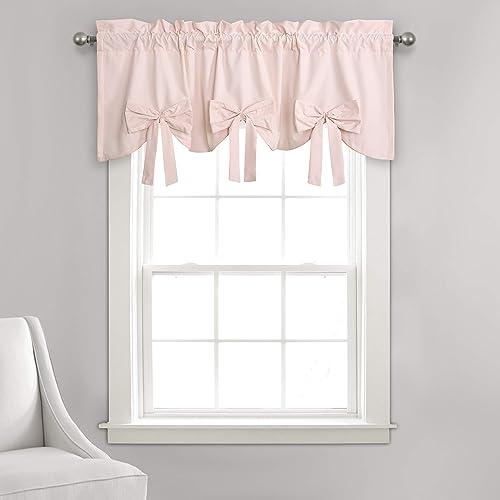 Lush Decor, Blush Melody Bow Window Curtain Valance, 18 x 52 2 Header