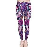 Tamskyt Women's Digital Print Women's Full-Length Yoga Workout Leggings Thin Capris Stretchy Ankle Leggings Tights