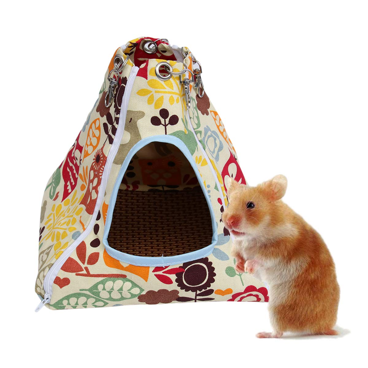 POPETPOP Ferret Hammock Summer-Small Animal Hammock Tent-stype with Cool Pad,Pet Hanging Bed House for Rabbit Rat Hamster Squirrel Chinchilla Guinea Pig Parrot Toys-24x24x24cm