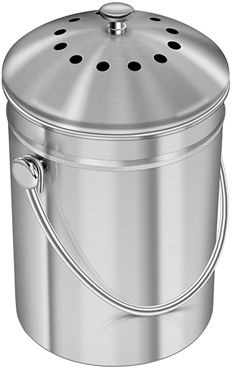 Stainless Steel Kitchen Countertop Compost Bin With Silicone Grip   1 Gallon