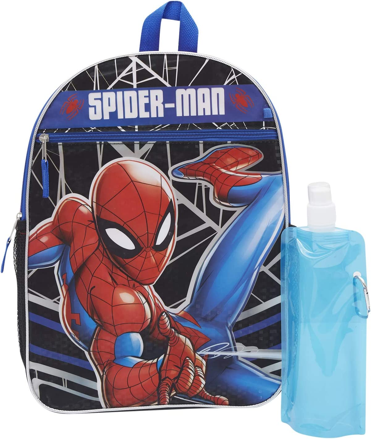 Marvel Spiderman Backpack Combo Set - Spiderman Boys 3 Piece Backpack Set - Backpack, Water Bottle and Carabina (spiderman)