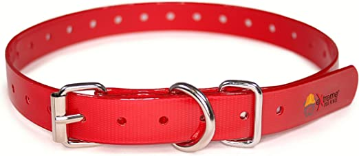 Red Heavy Duty TPU Nylon Replacement Collar Strap for Bark and Electric Dog Fence Receivers– Waterproof and Adjustable - Compatible with Dogtra   Garmin   SportDOG   PetSafe and More