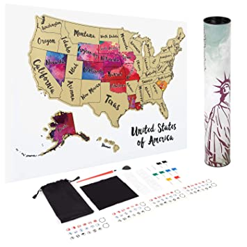 Amazon.com : JARLINK Scratch Off USA Map, 12X17\