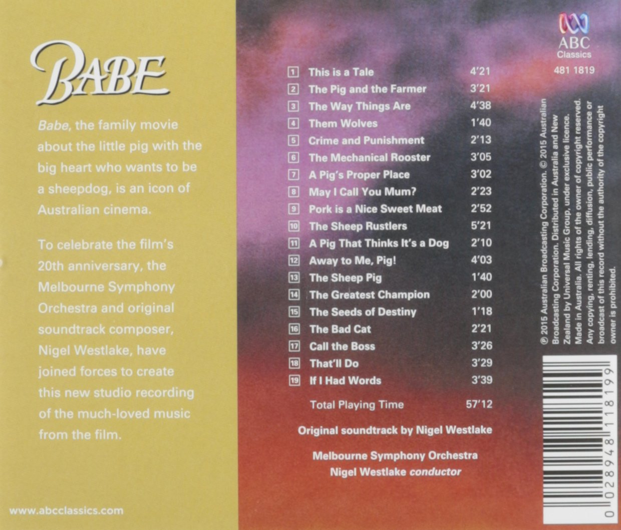Babe: Orchestral Soundtrack 2015 by ABC Classics