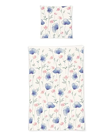 Irisette Seersucker Bettwäsche Blumen Violett 155x200 Cm 80x80 Cm