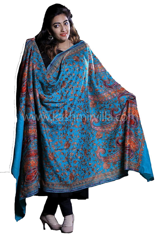 Kashmirvilla Sea Green Kashmiri Aari Work Embroidered Shawl Enriched With Floral Designer Pattern