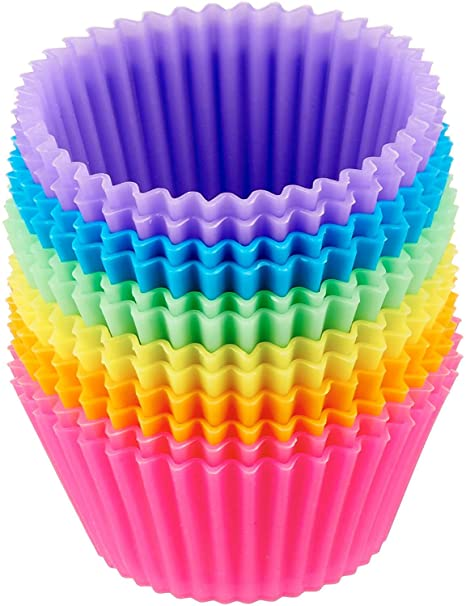 Baking Cups Cases Silicone Reusable Cupcake Cases Muffin Baking Cup Cake 12PCS P