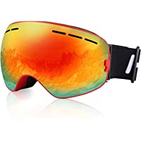 Ski Goggles HiCool No Border Extra Large Viewing Skiing Goggles with Imported Italian Lens - Anti-Fog UV Protection Detachable Wide Spherical Goggle