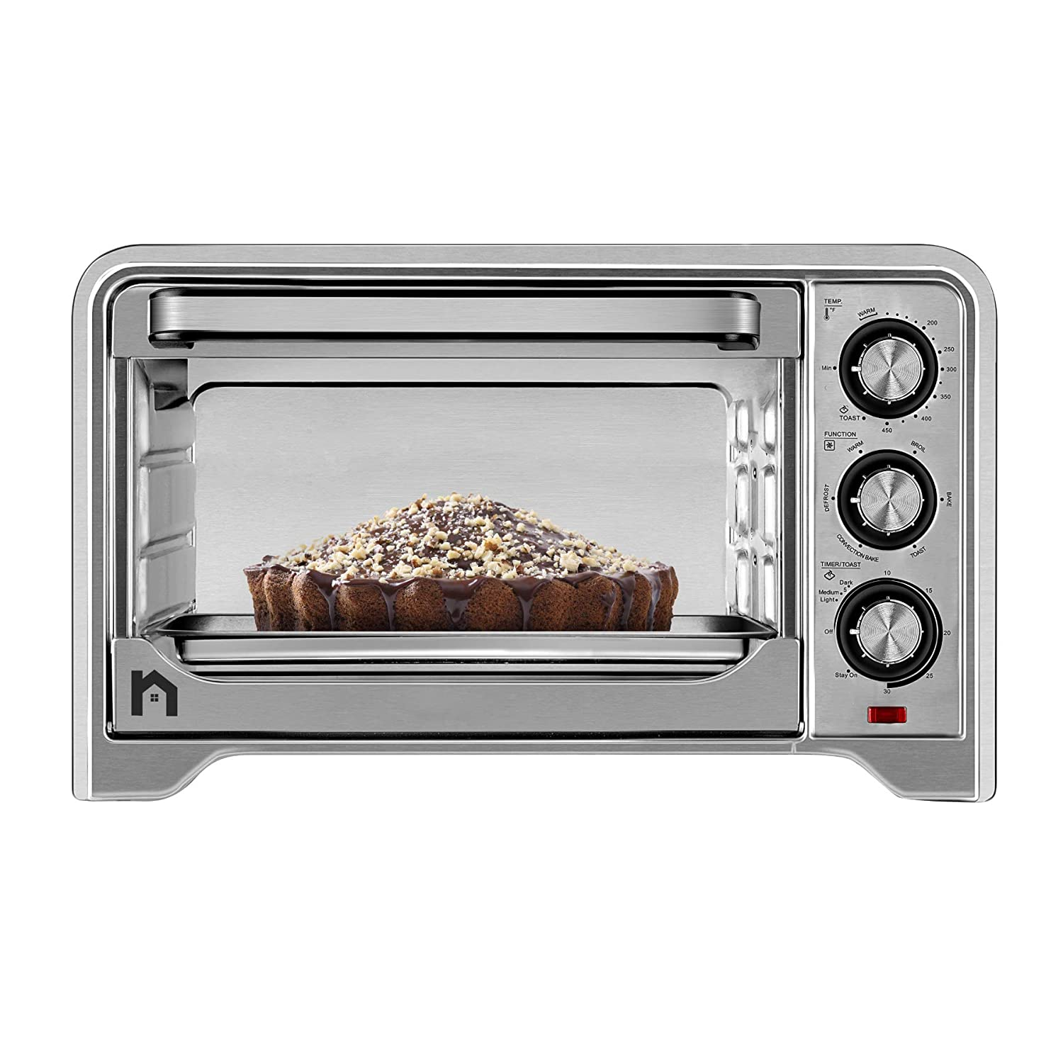 New House Kitchen Stainless Steel Toaster Countertop Convection Oven w Multiple Temperature Control, X-Large 6 Slice, 6 Cooking Functions Include Bake, Broil, Keep Warm