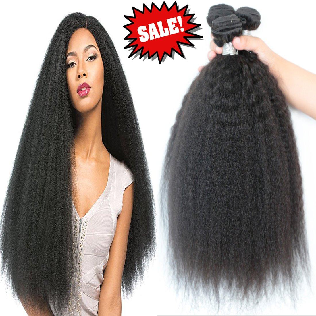 Fengde Hair 3 bundles brazilian yaki straight