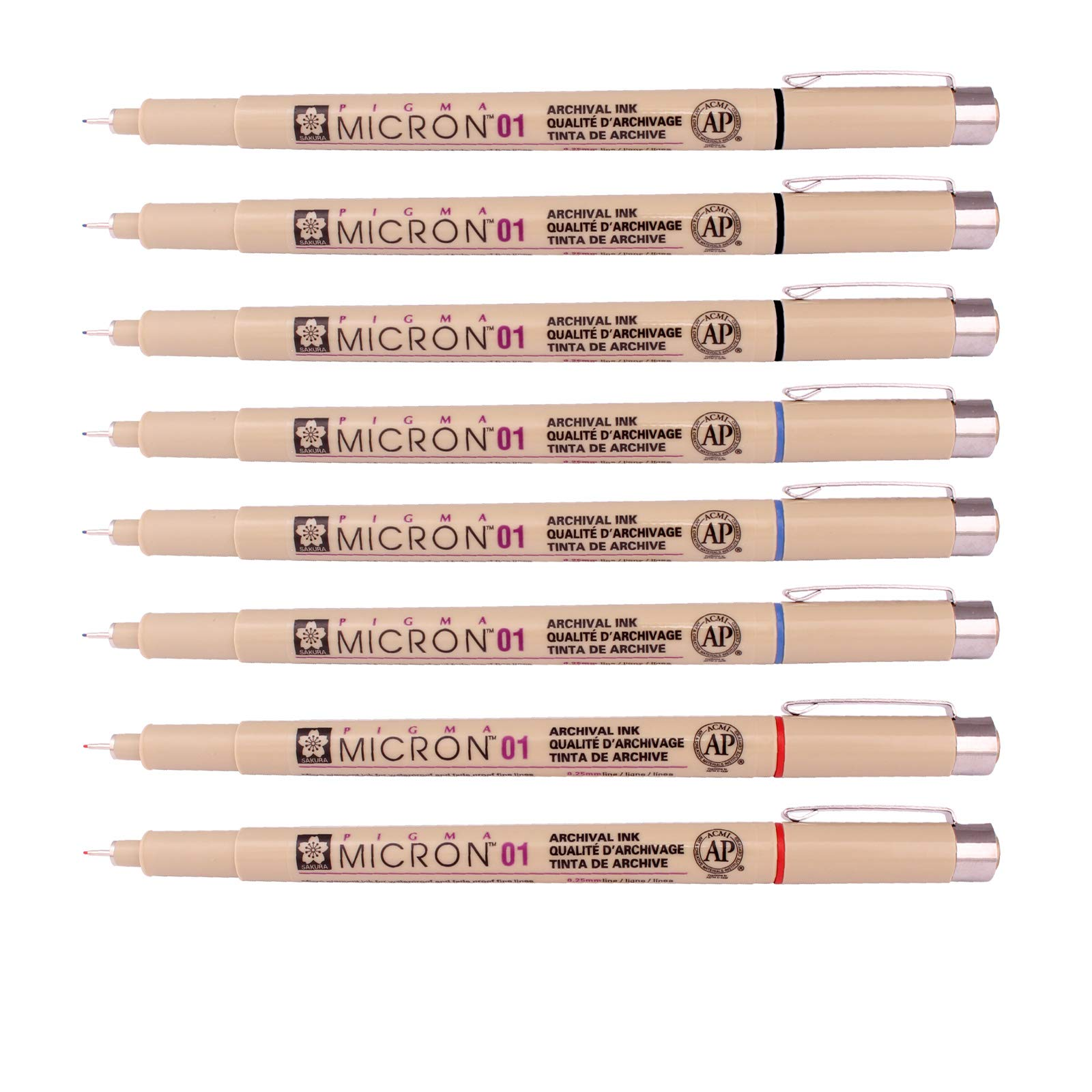 Sakura Pigma Micron Fine Line Pen High Light and Soft Head Pen Manga Drawing- Assorted 8 Pens Set (Assorted Colors, 01-8 Pens)