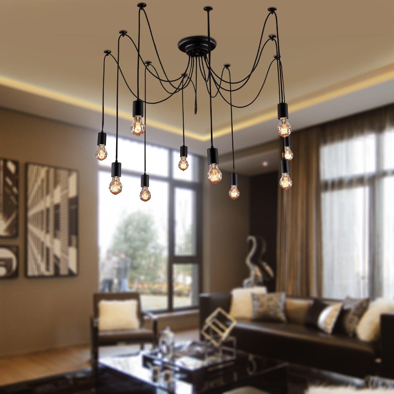 LightInTheBox Vintage Edison Multiple Ajustable DIY Ceiling Spider Lamp  Light Pendant Lighting Chandelier Modern Chic Industrial Dining Room  Lighting ...
