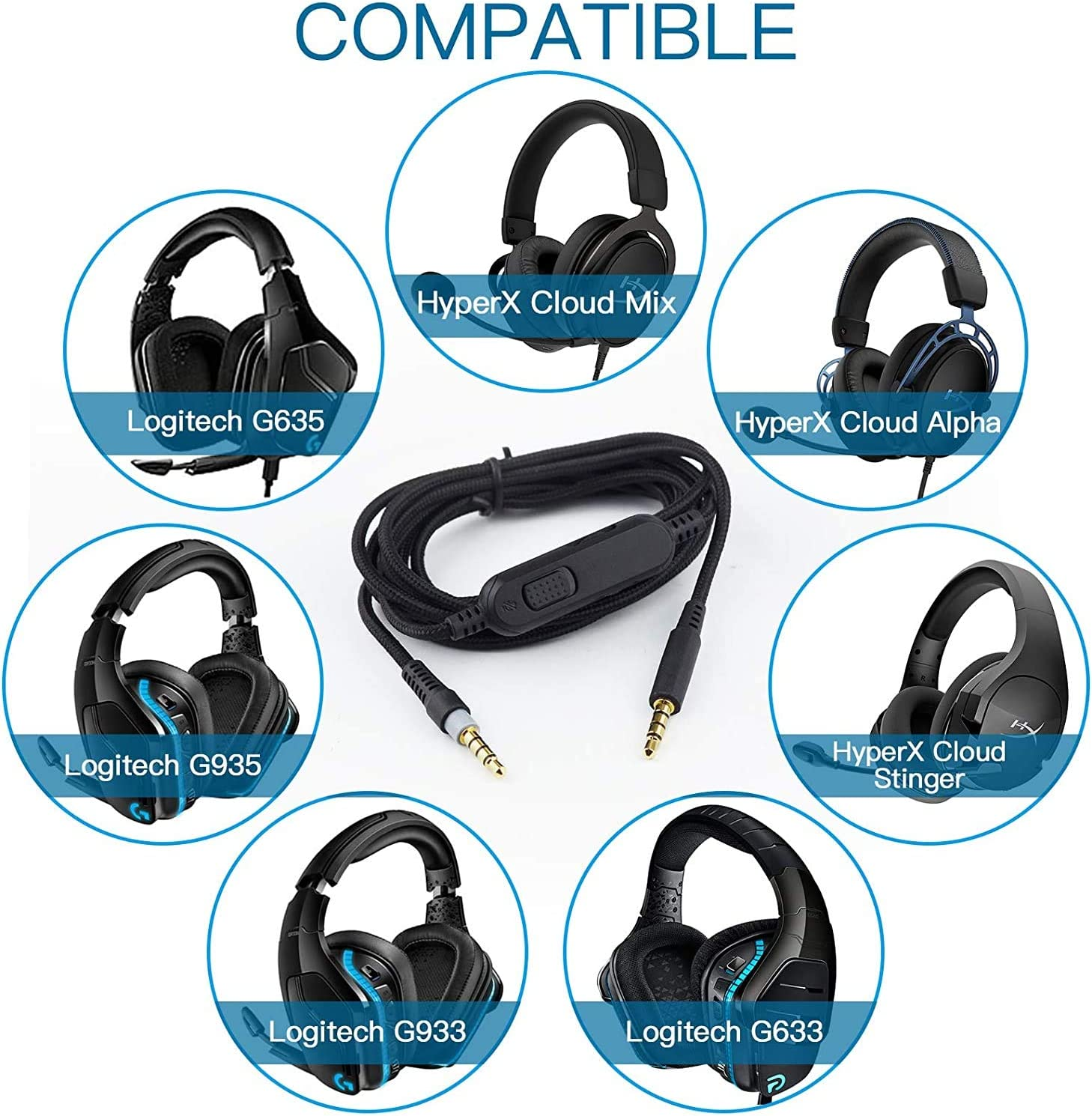 Cloud Alpha Cable,Detachable Audio Aux Replacement Cord Wire Compatible with HyperX Cloud Mix Cloud Alpha////Logitech G633//G933 Gaming Headset,Xbox One,PS4 and PC Gaming Inline Mute /& Volume Control 2m