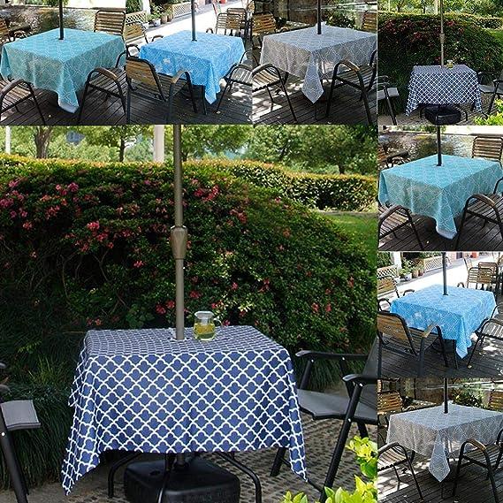 ... a Prueba de derrames, Elegante, Cubierta de Mesa marroquí con Cremallera, para Patio, jardín, Barbacoa, decoración de Mesa: Amazon.es: Hogar