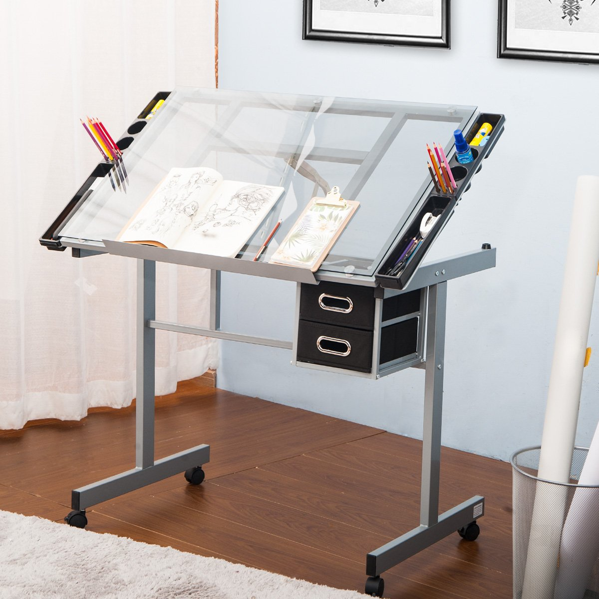 Harper&Bright Designs Adjustable Drafting Table Drawing Desk with Tempered Glass Top, Two Drawers and Castors by Harper&Bright Designs (Image #3)