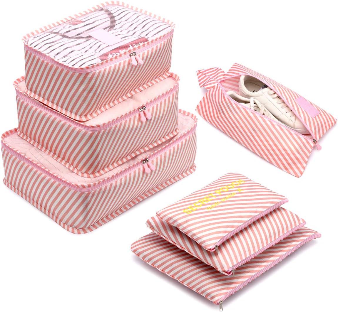 Organizador de Equipaje,LOSMILE 7 en 1 Set Impermeable Organizadores de Viaje para Maletas,3 Cubos de Embalaje +3 Bolsas de Almacenamiento+1 Saco de Zapatos.(Rosa-Raya)