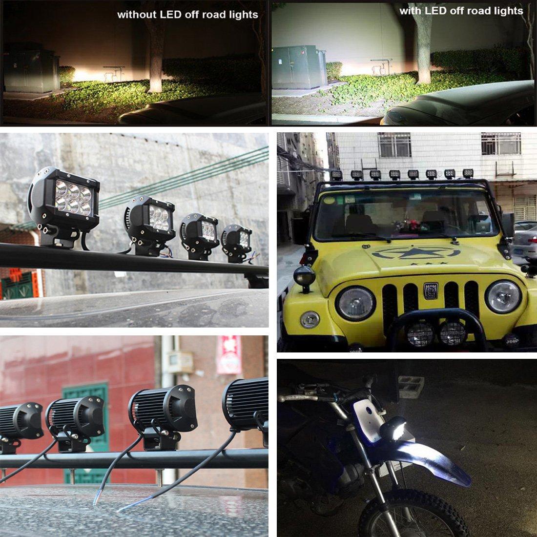 Kashine 18W LED Luz de Trabajo Bar Lampara de Inundacion Niebla Luz para Camion Offroad 4x4 SUV ATV Carro Coches Barco Miner/ía Tractor 6000K 2 Piezas
