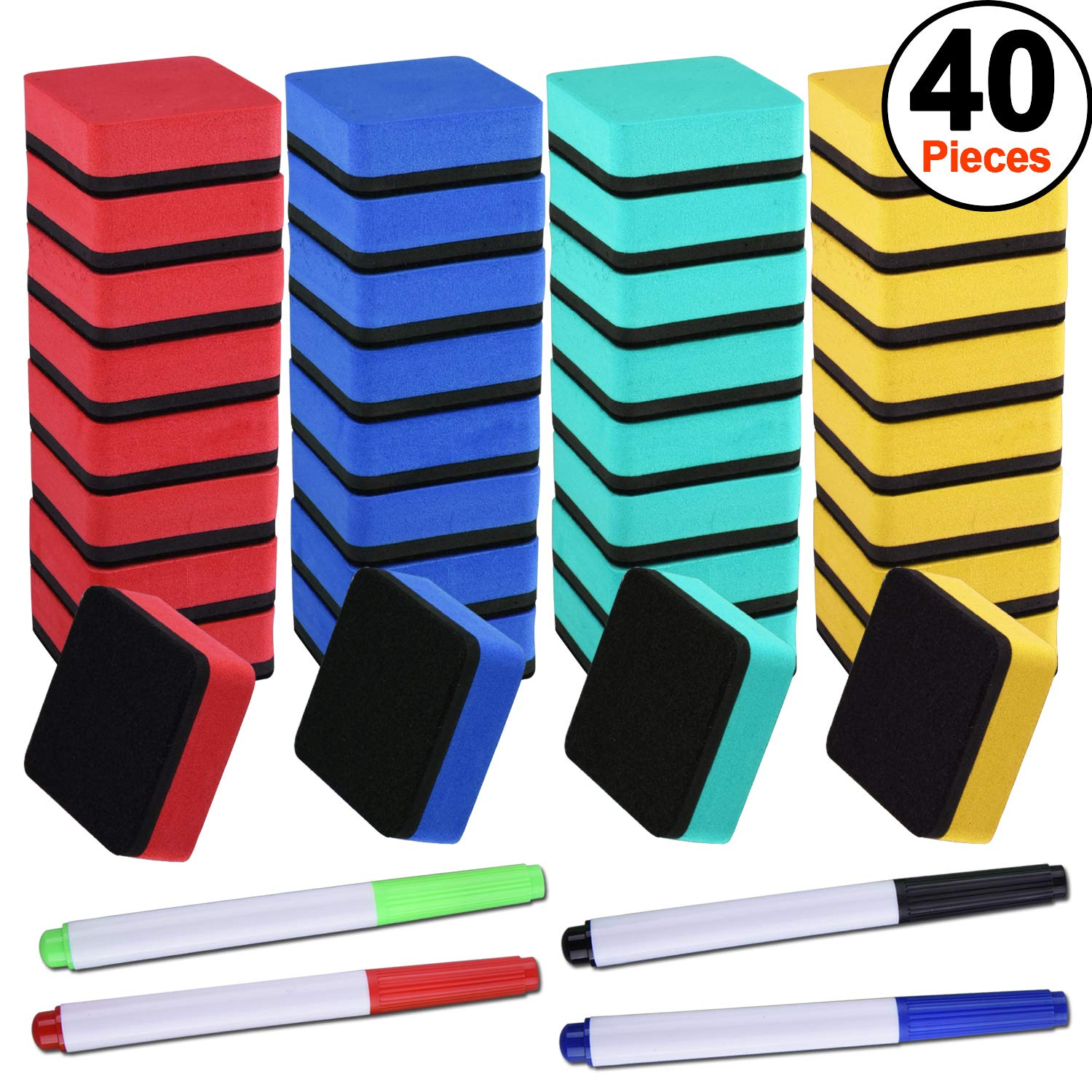 SIQUK 36 Packs Colorful Whiteboard Eraser Dry Eraser Magnetic Chalkboard Cleansers Wiper(1.97 x 1.97 Inches) with 4 Pieces Dry Erase Whiteboard Markers for Classroom Offices