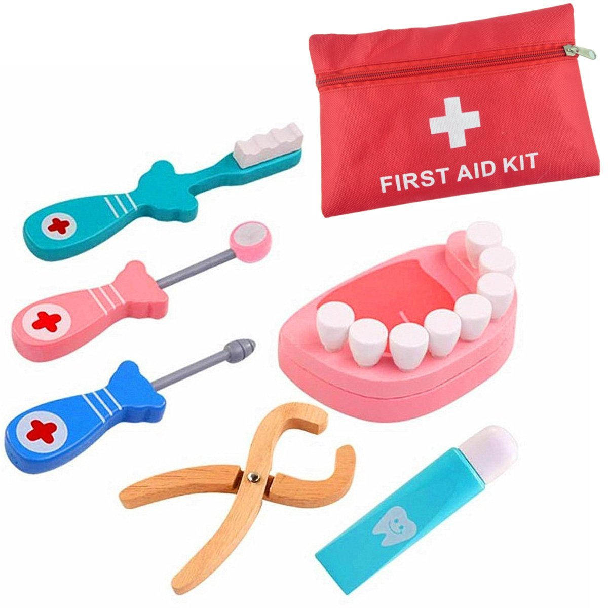 Minibaby Pretend Play Medical Kit Funny Dentist Realistic Doctor Toy Set for Kids Include 6 Pieces Wooden Teeth Toys
