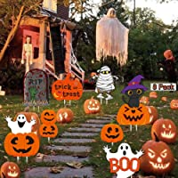 Halloween Yard Signs 8 Pack Skeleton and Ghost Corrugate, Outdoor Lawn Garden Stake Decorations Trick or Treat, Large…