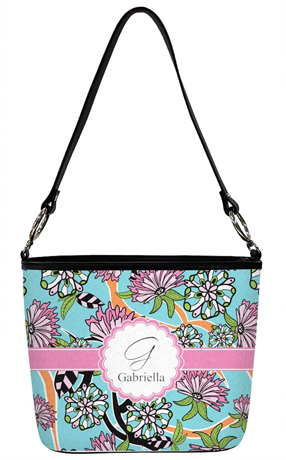 Personalized Large Summer Flowers Bucket Bags w//Genuine Leather Trim Front