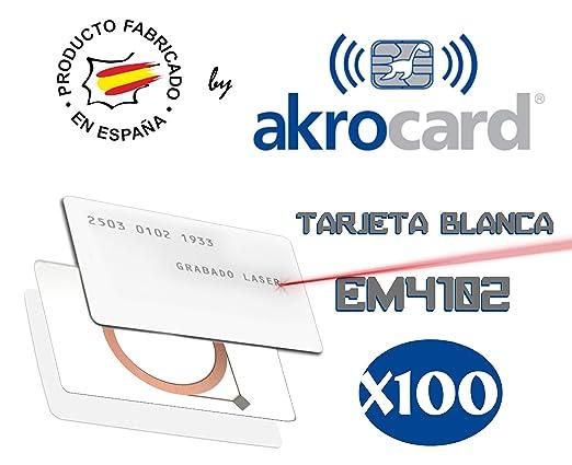 Pack 100 - Tarjeta pvc BLANCA con chip sólo lectura EM4102 ...