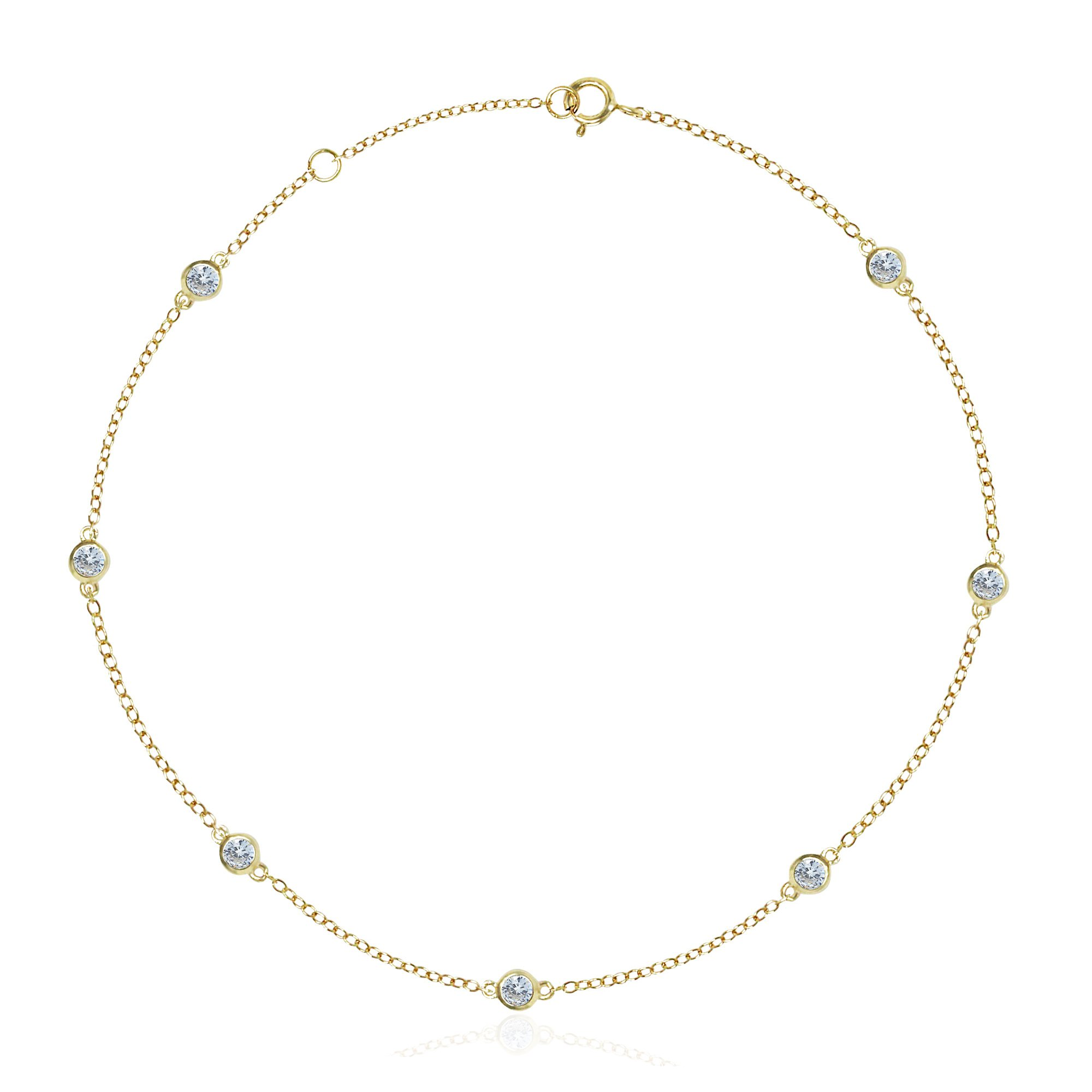 Yellow Gold Plated Sterling Silver CZ By Yard Bezel Cubic Zirconia Station Anklet, 10.5''