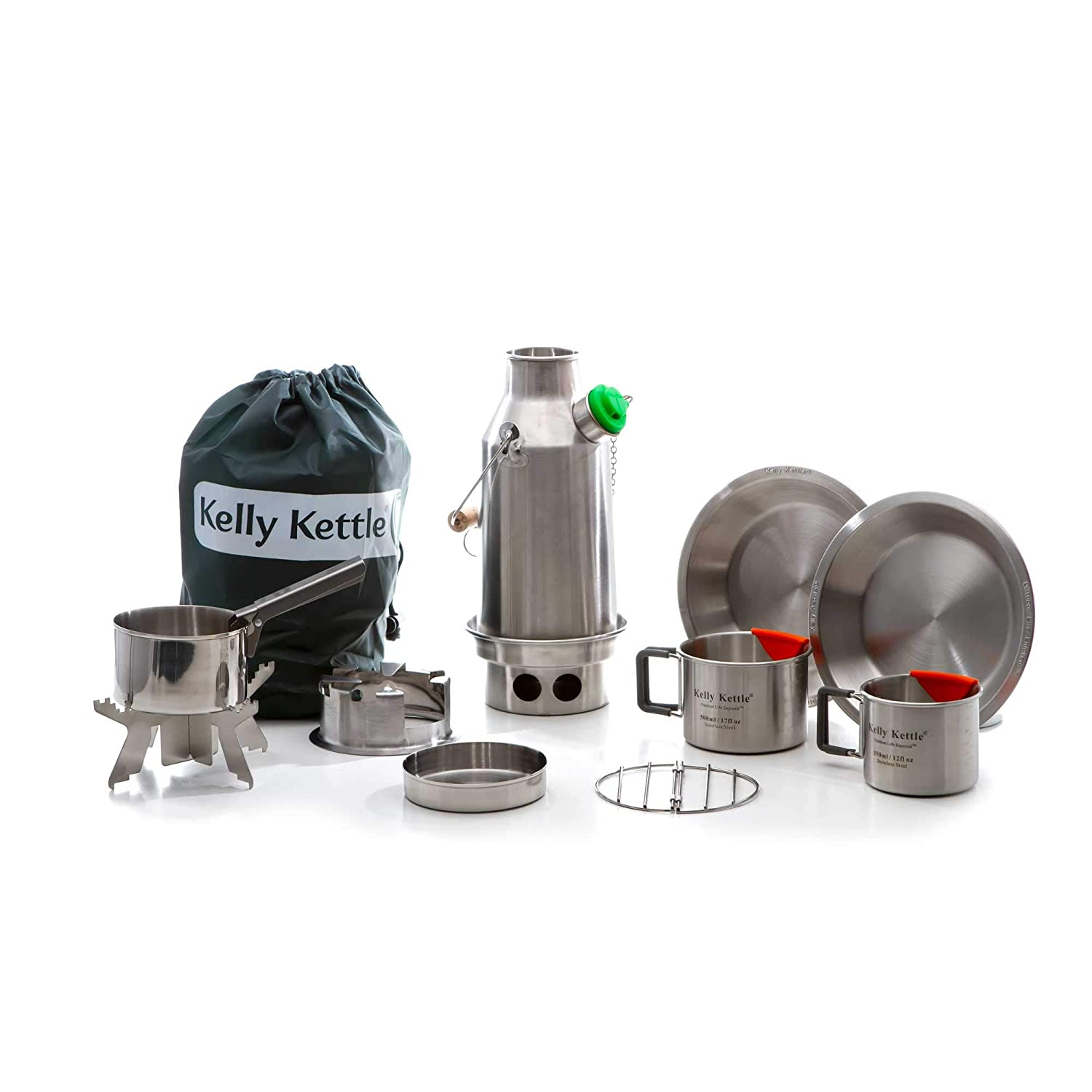 Kelly Kettle Trekker 20 oz. Stainless Steel Ultimate Kit 0.6 LTR Rocket Stove Boils Water Ultra Fast with just Sticks Twigs. for Camping, Fishing, Scouts, Hunting, Emergencies, Hurricanes, Tornados