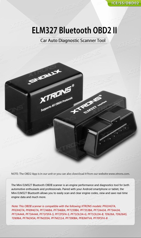 XTRONS® ELM327 Bluetooth OBD2 II V2 2 Android Car Auto Diagnostic Scanner  Tool Torque Special for Xtrons TD626AS TD696A PF61HGTA