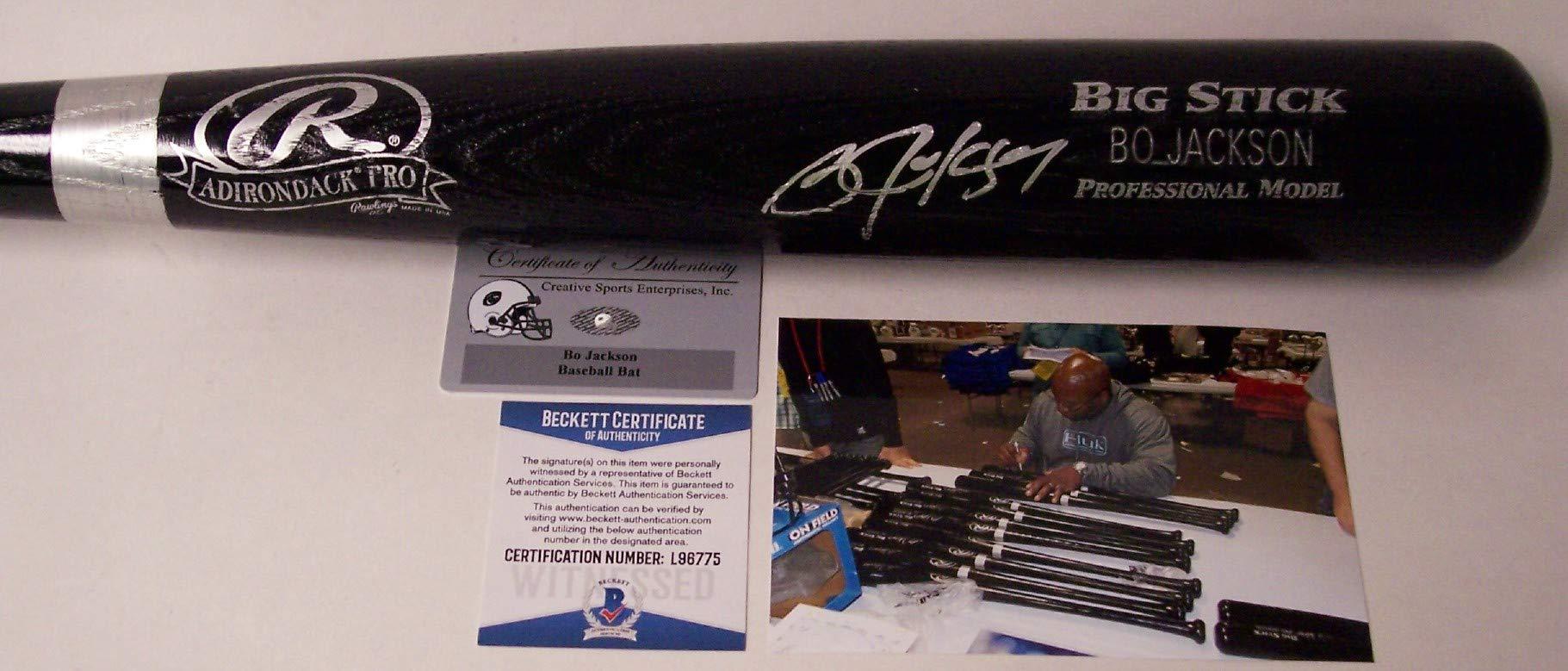 Bo Jackson Autographed Hand Signed Adirondack Pro Wood Black Baseball Bat BAS Beckett