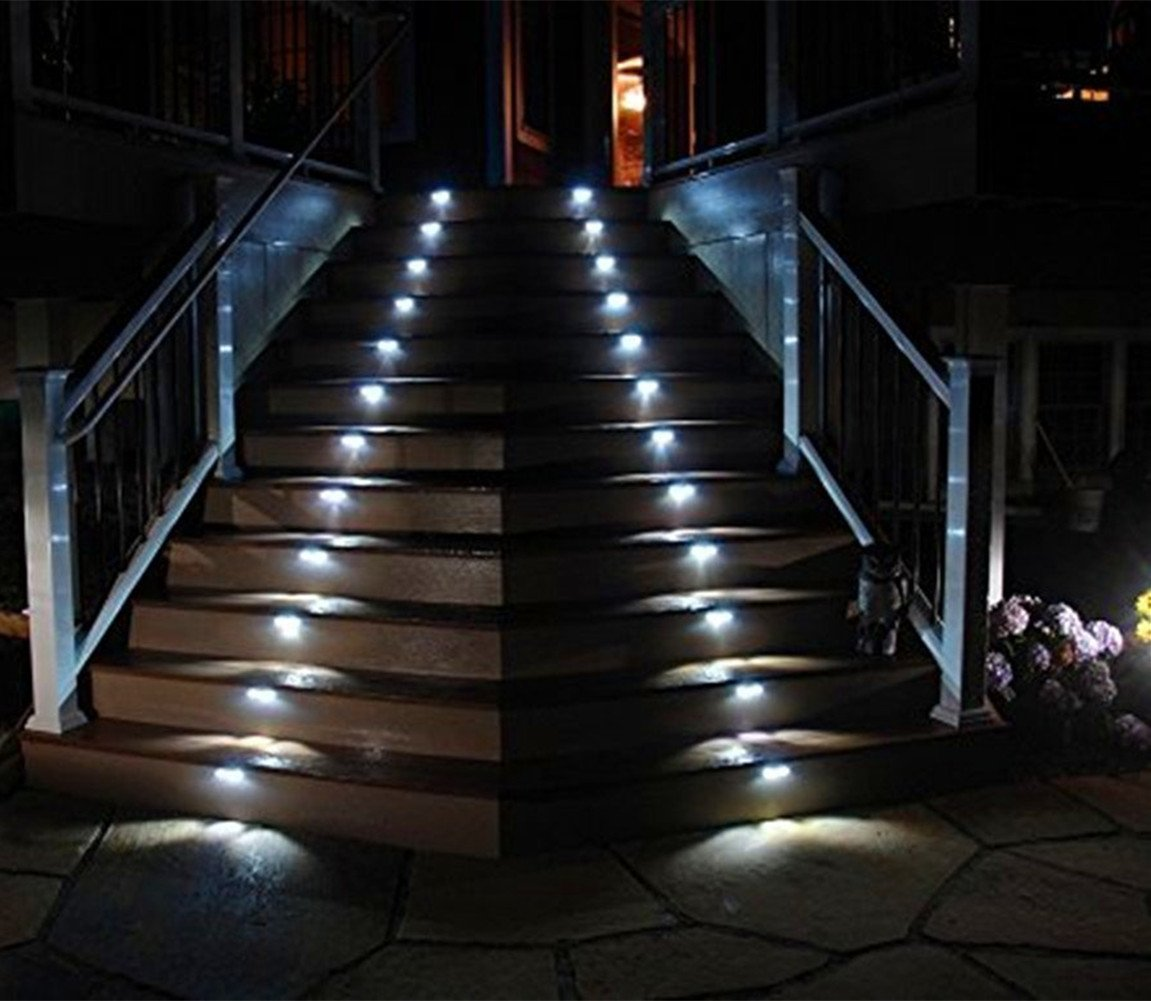 [Upgraded 3 LED] HKYH Newest 4 Pack 3 LED Solar Bright Step Light Stairs  Pathway Deck Garden Lamps Stainless Steel Wall Yard Outdoor Illuminates  Patio Lamps ...
