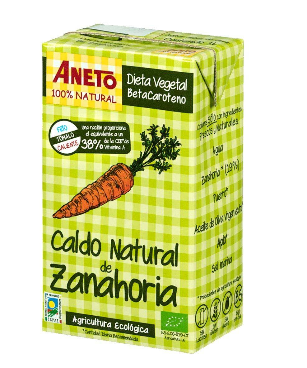 Aneto 100% Natural - Caldo funcional de Zanahoria - caja de 6 unidades de 1 litro: Amazon.es: Alimentación y bebidas