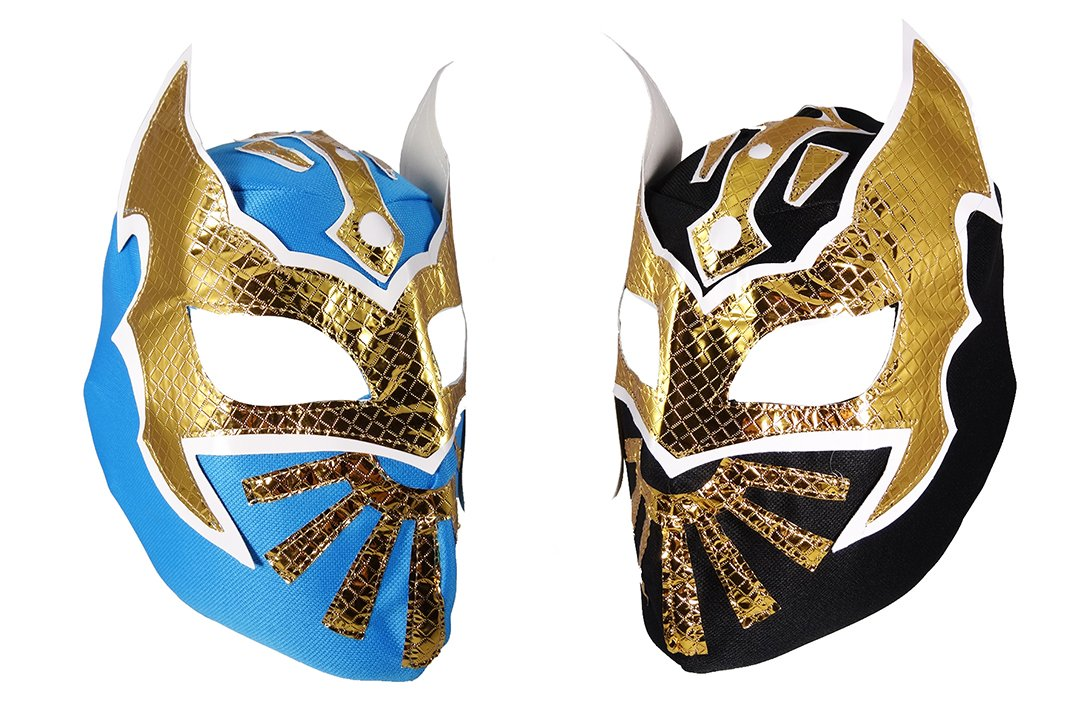2 pack SIN CARA Youth Lucha Libre Wrestling Mask - KIDS Costume Wear - Party Pack - Black/Blue by Mask Maniac
