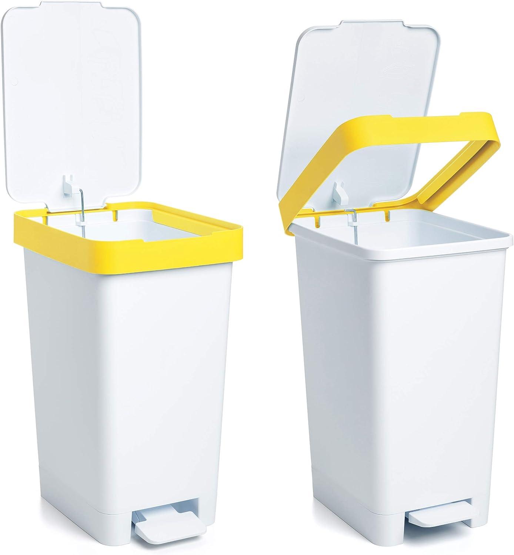 Mediano Blanco y Amarillo Tatay Cubo de Basura para Reciclaje