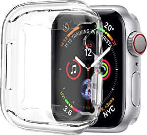 [1 Pack] ALADRS Screen Protector Case for Apple Watch 44mm, Full Protective HD Ultra-Thin Cover Compatible with iWatch Series 4 Series 5 Series 6 SE Bumper Case, Clear