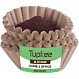 Tupkee Coffee Filters 8-12 Cups - 600 Count, Basket Style, Natural Brown Unbleached Coffee Filter, Made in the USA