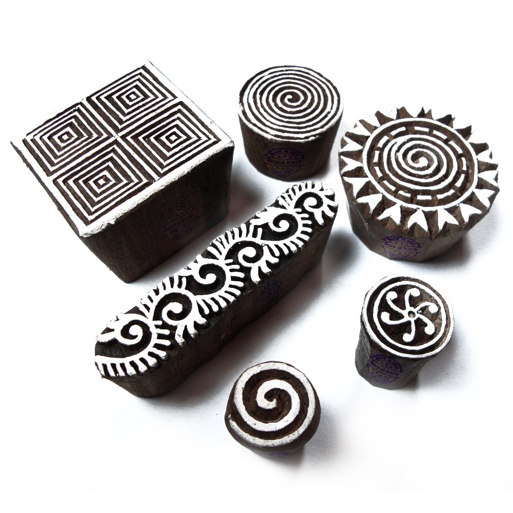 Royal Kraft Elegant Spiral and Floral Pattern Wood Block Print Stamps (Set of 6) Htag0031