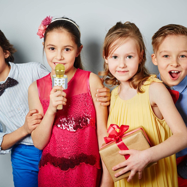 Keyian Jouets Gar/çon 4-12 Ans Microphone Bluetooth Karaoke Micro sans Fil Adulte Enfant Fille Cadeaux pour Enfants 4-12 Ans Gar/çon