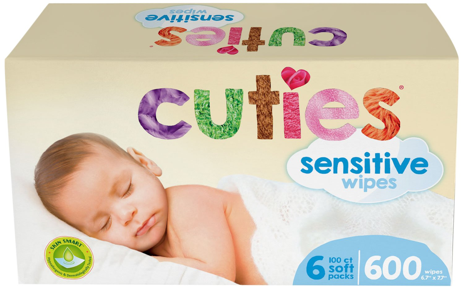 Cuties Complete Care Sensitive Baby Wipes, Unscented, 600 Count