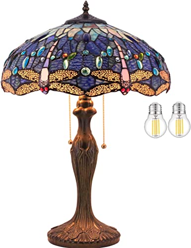 Tiffany Lamp W16H24 Inch Tall 2LED Bulb Included Blue Stained Glass Table Lamp Crystal Bead Dragonfly Style Shade S631 WERFACTORY Lover Friend Parent Living Room Bedroom Coffee Bar Desk Beside Lamps