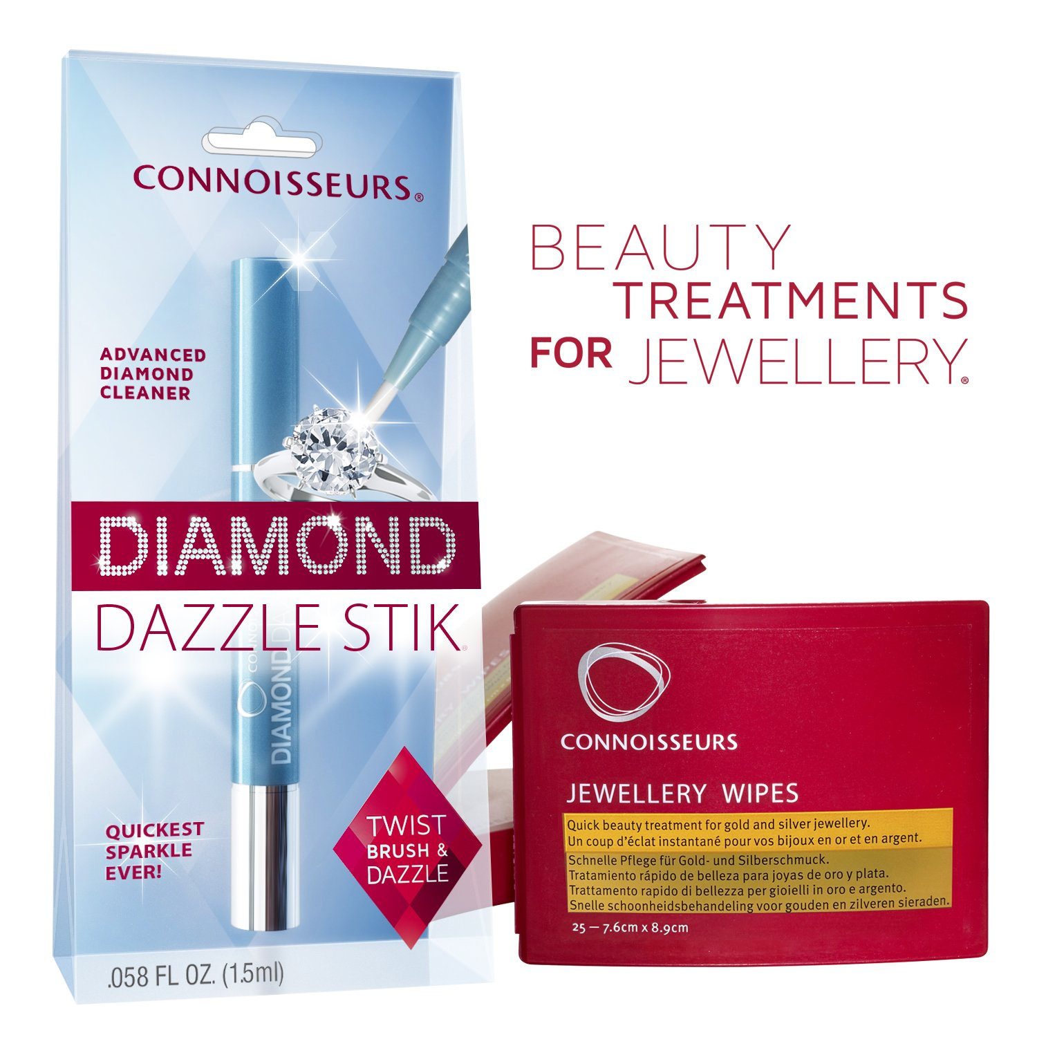 Connoisseurs Diamond & Jewellery Cleaning Kit , Diamond Dazzle Stick And Dry Wipes To Shine Your Jewellery