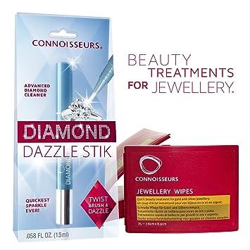 Connoisseurs Kit de limpieza de joyas y diamantes, barra para deslumbrar y toallitas secas para
