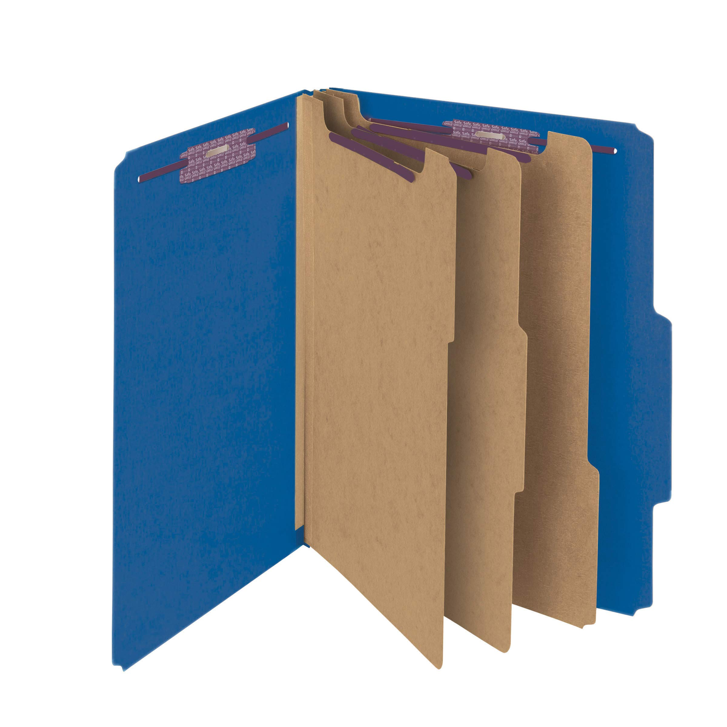 Smead Pressboard Classification File Folder with SafeSHIELD Fasteners, 3 Dividers, 3'' Expansion, Legal Size, Dark Blue, 10 per Box (19096)