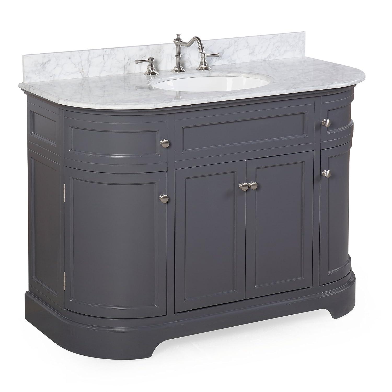 Montage 48 inch bathroom vanity carrara charcoal gray for Charcoal grey bathroom accessories